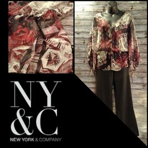 Semi-Sheer Pheasant Peplum Blouse by NY&Co.